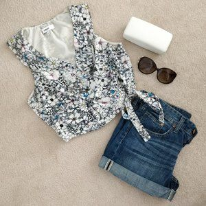 NWOT LIKELY Floral Crop Top Sz S